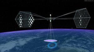 Une ferme de panneaux solaires dans l'espace.