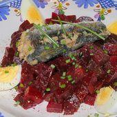 salade de betteraves aux sardines et oeufs durs - la cuisine de josette