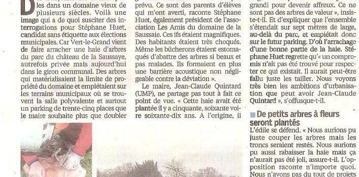 VERT-LE-GRAND MUNICIPALES 2014 DES IFS ABATTUS PAR LE MAIRE JEAN-CLAUDE QUINTARD