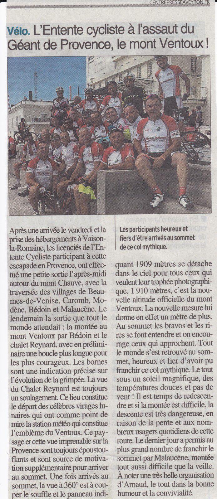 Article Centre Presse 7/10, sortie Mont Ventoux