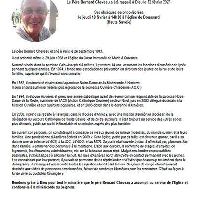 Avis de décès du père Bernard Cheveau