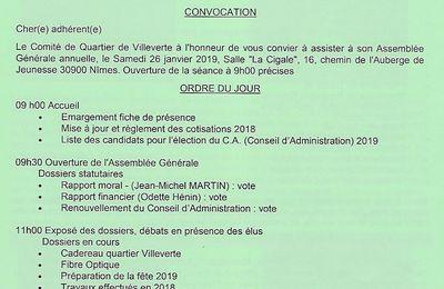 Assemblée Générale du Comité de Quartier Villeverte le samedi 26 janvier 2019