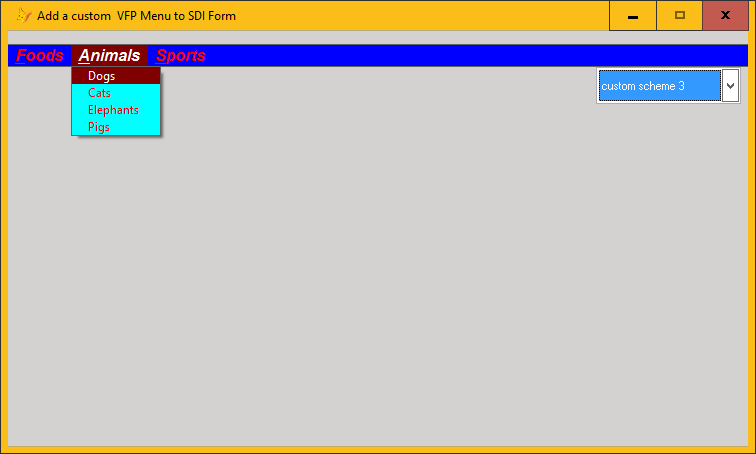 Working with color schemes in vfp menus
