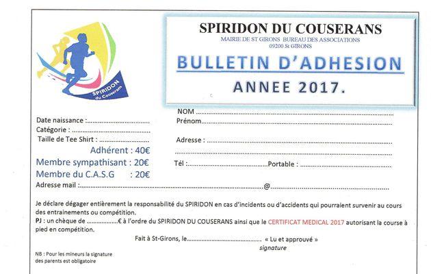 BULLETIN D'ADHESION 2017