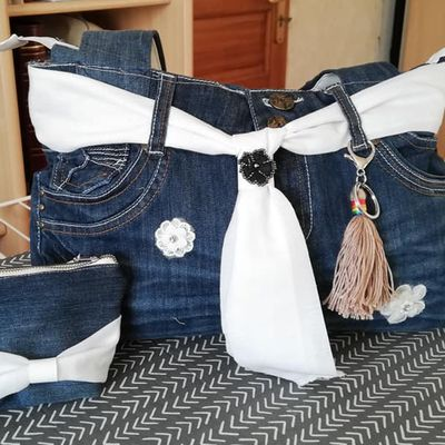 Transformer un jean en sac avec son  porte monnaie assortie