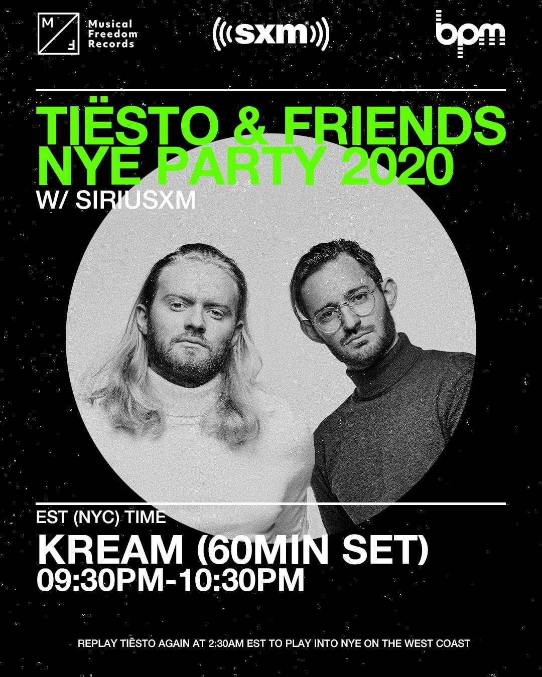 Tiësto and friends, New Year 2020 on Sirius Xm, kream