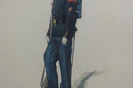 aquarelle sapeur pompier grande tenue 1906