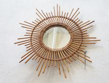 Vendu - miroir soleil vintage bambou rotin œil de sorcière