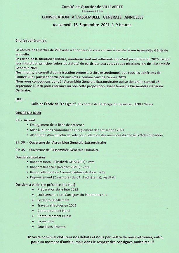 Comité quartier de villeverte à Nîmes AGE AGO