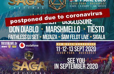 Tiësto date postponed | SAGA Festival | Bucharest, Romania - june 5/7, 2020 | new date: september 11/12/13, 2020