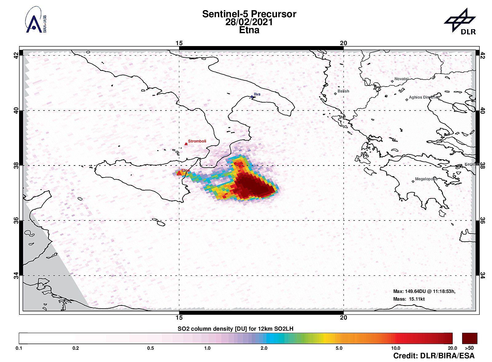 Etna -  anomalie en dioxyde de soufre le 28,02,2021, avec 149.02DU de SO2 à une altitude de ~11km. Masse estimée dans les 300 km de 15.1ktons.  -  Doc. Tropomi /