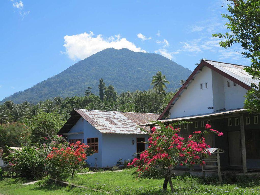 arrivée à Jailolo, côte ouest d'Halmahera, la mosquée, balade jusqu'à Marimbanti, maison commune traditionnelle