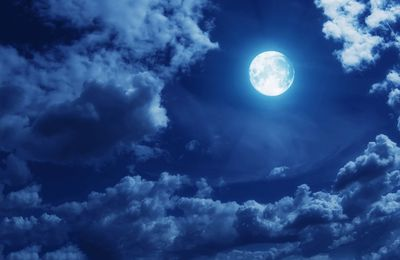 Ciel - Nuage- Nuit - Pleine Lune - Photographie - Wallpaper - Free