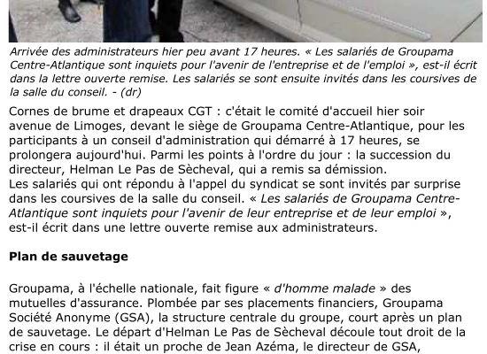 Article de la Nouvelle République Niort où la CGT interpelle les administrateurs de Groupama Centre Atlantique sur l'avenir et l'emploi