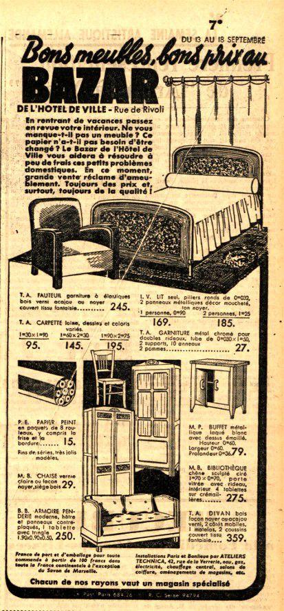 Publicité BHV 13 09 1937