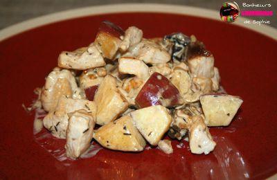 Fricassée de Dinde aux Pommes, Pruneaux et Noix