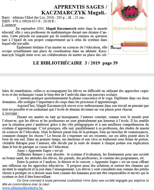 """""""Apprentis sages"""" de Magali Kaczmarczyk dans Le Bibliothécaire"""