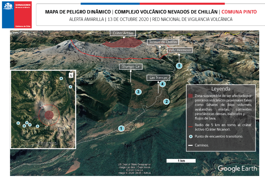 Nevados de Chillan - areas possibly impacted by volcanic processes as of 13.10.2020 - Sernageomin