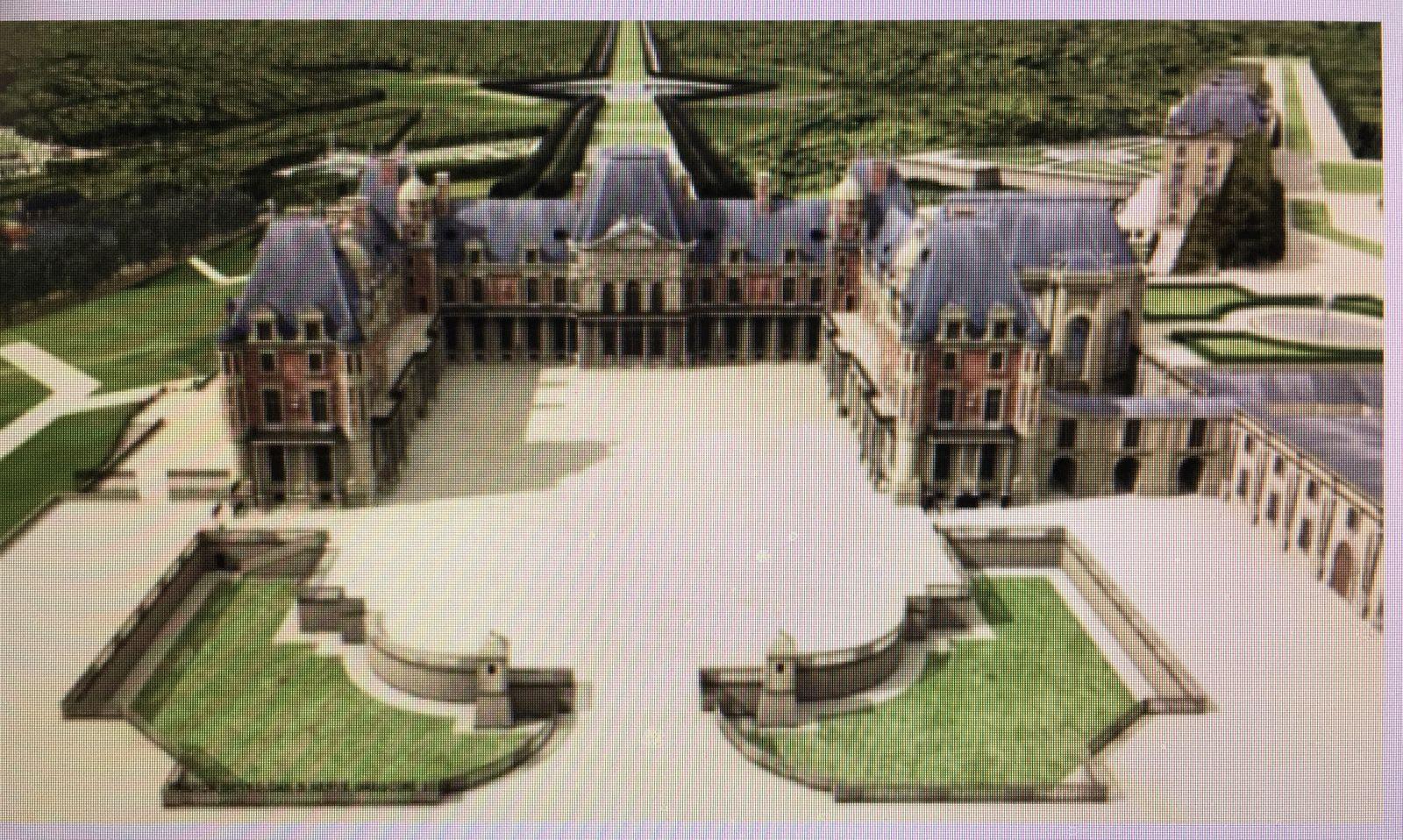 Les deux châteaux de Meudon avec la Grande Perspective vers 1715. En 1695, Louis XIV acheta Meudon pour son fils aîné, le Grand Dauphin. Le Château-Vieux (au centre) est prend feu en 1795 et démoli en 1803 par ordre de Bonaparte. Le Château-Neuf (à droite) est bâti à partir de 1706 et incendié en 1871. De 1880 à 1885, le grand astronome Janssen le coiffe d'une coupole… Il devient l'Observatoire de Meudon. [Restitution virtuelle de Franck Devedjian et Hervé Grégoire, 2012]