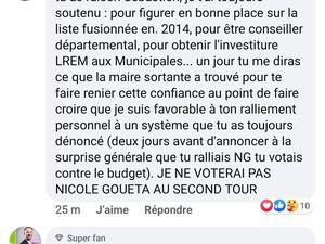 """Sébastien PERROTEL/ GOUETA réécrit l'histoire avec Laurent TRUPIN qui """"NE VOTERA PAS GOUETA"""" au second tour ! c'est dit"""