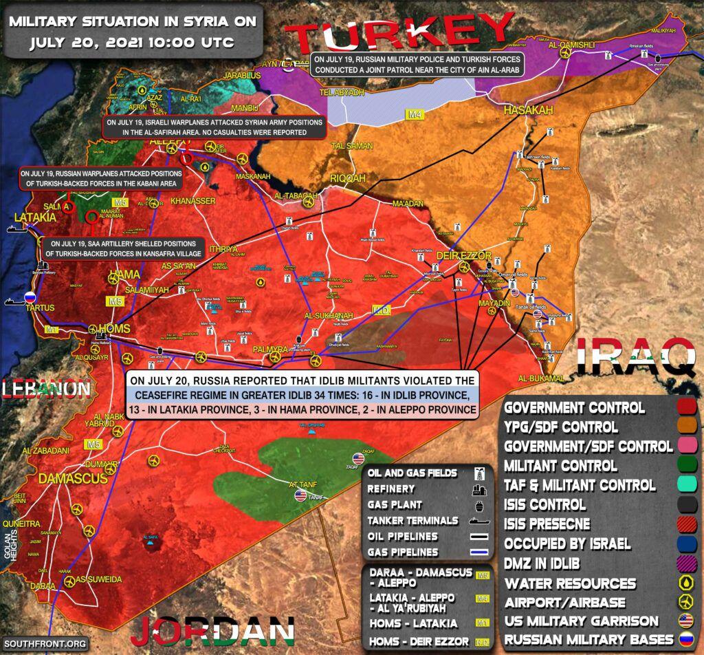 Situation militaire en Syrie au 20.07.21 (Southfront)
