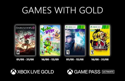 Games with Gold d'Août 2021