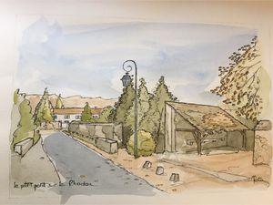 Aquarelles d'Alain Trémon - Le bourg du village de Saint-Lambert.
