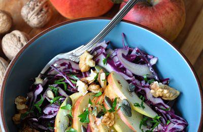 Salade de chou rouge, pommes, noix et graines de courge