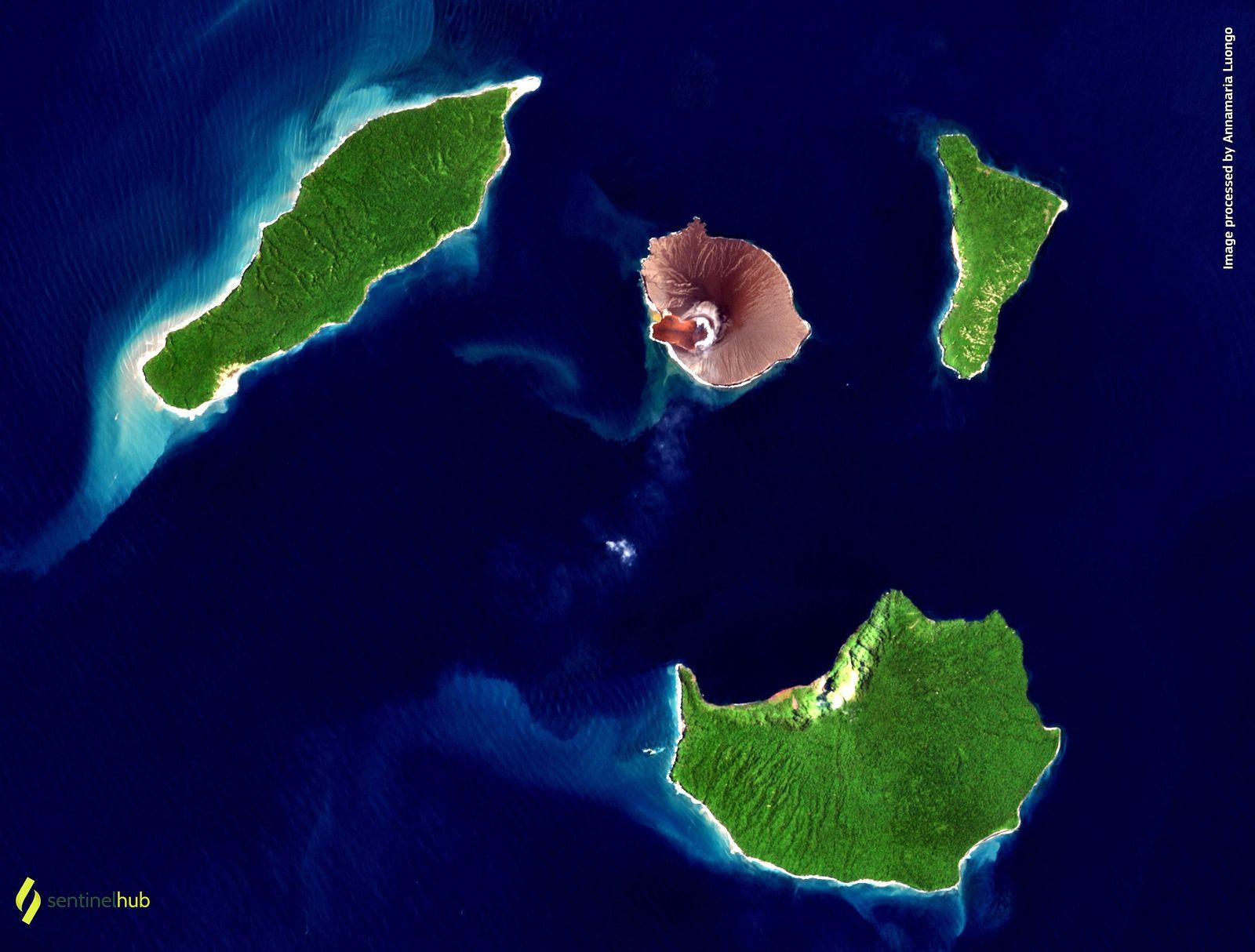 L'Anak Krakatau tire la langue -  image Eos - Sentinel Hub 05.03.2021 - A. Luongo - un clic pour agrandir