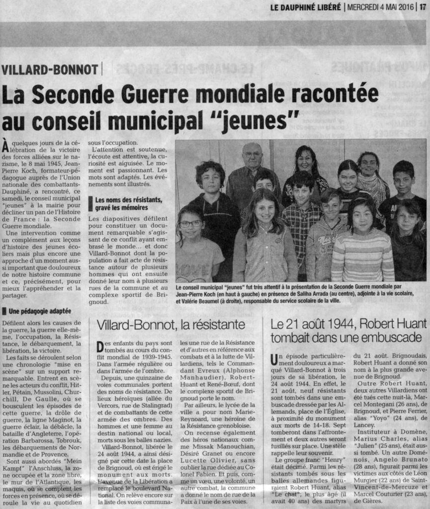 """Jean Pierre Koch formateur-pédagogue auprès de l'UNC du  Dauphiné et le Conseil Municipal """"Jeune"""""""