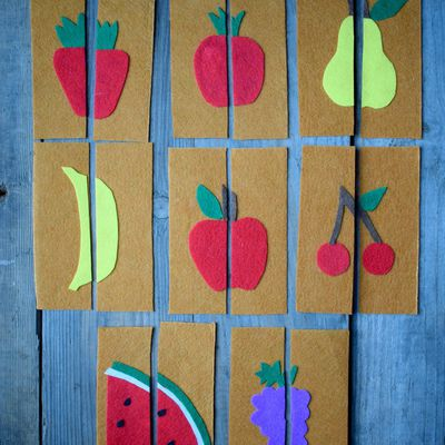 Les cartes fruits en feutrine