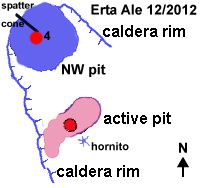 Erta Ale - diagram illustrating the overflow / 04.12.2010 and comparative situation on 15.12.2012- Doc. C.Weber / http: //www.v-e-i.de