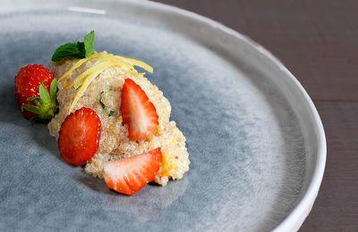 Quinoa au lait doucement épicé, agrumes, menthe et fraises, déjeuner à l'Arpège chez Alain Passard avec Tipiak
