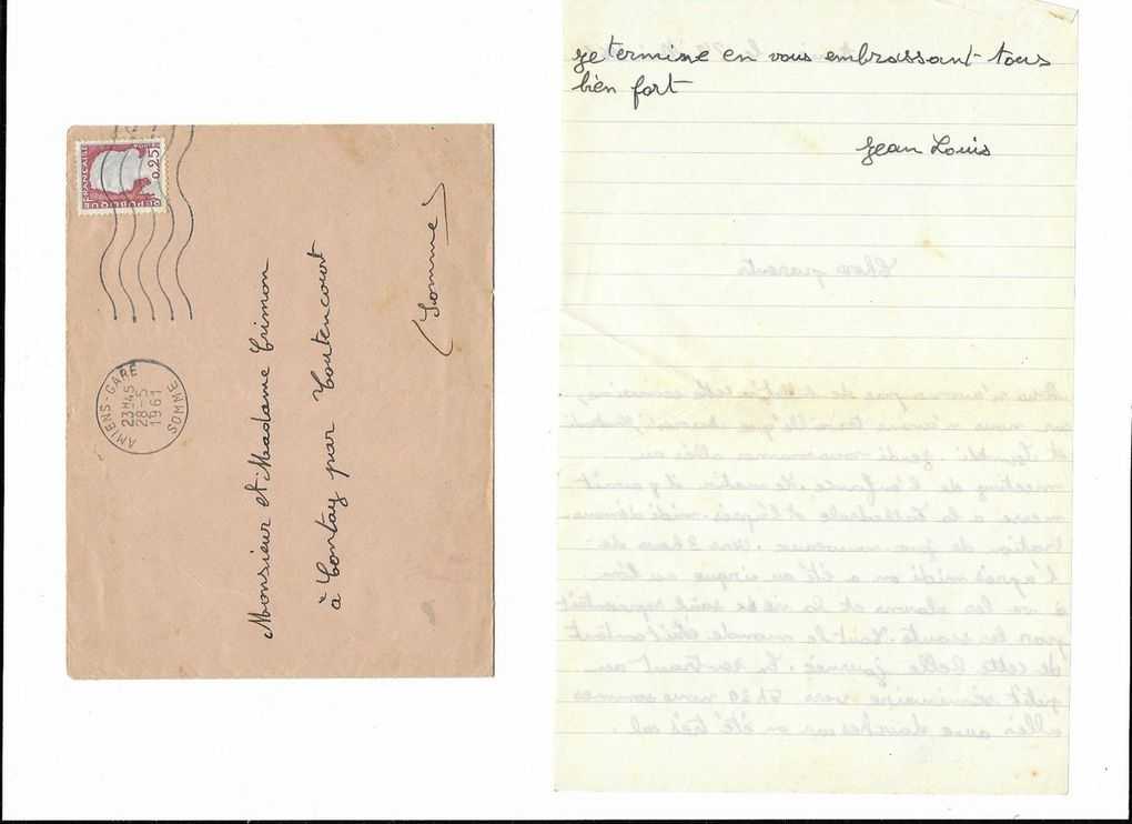 Amiens. Lettre à mes parents du 28 Mai 1961. © Jean-Louis Crimon