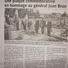 HOMMAGE AU GÉNÉRAL JEAN BRUN AU CIMETIÈRE D'OULLINS (RHÔNE) LE SAMEDI 24 AVRIL 2021.
