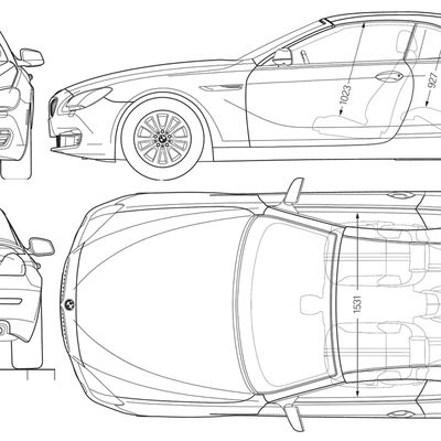 Blueprint of BMW 640i F10 Cabrio 2012