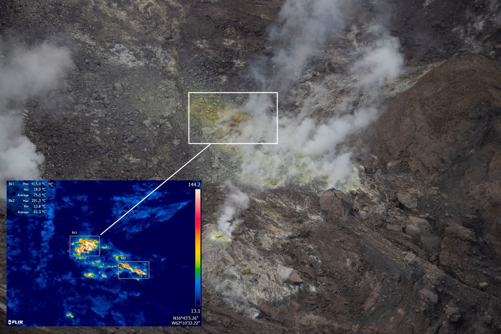 Montserrat - Soufrière Hills - Close-up view of the main fumarole (aka Gas Vent) in the floor of the 2010 collapse scar, with a thermal image showing temperatures above 415 ° C. - photo MVO 29.01.2021