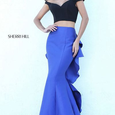 Sherri Hill 50750 Black/Royal Prom Dress 2018