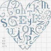 """Schema cuscino """"cuore con lettere"""" simboli e colori - Blog di iltelaiopovolaro.over-blog.it"""