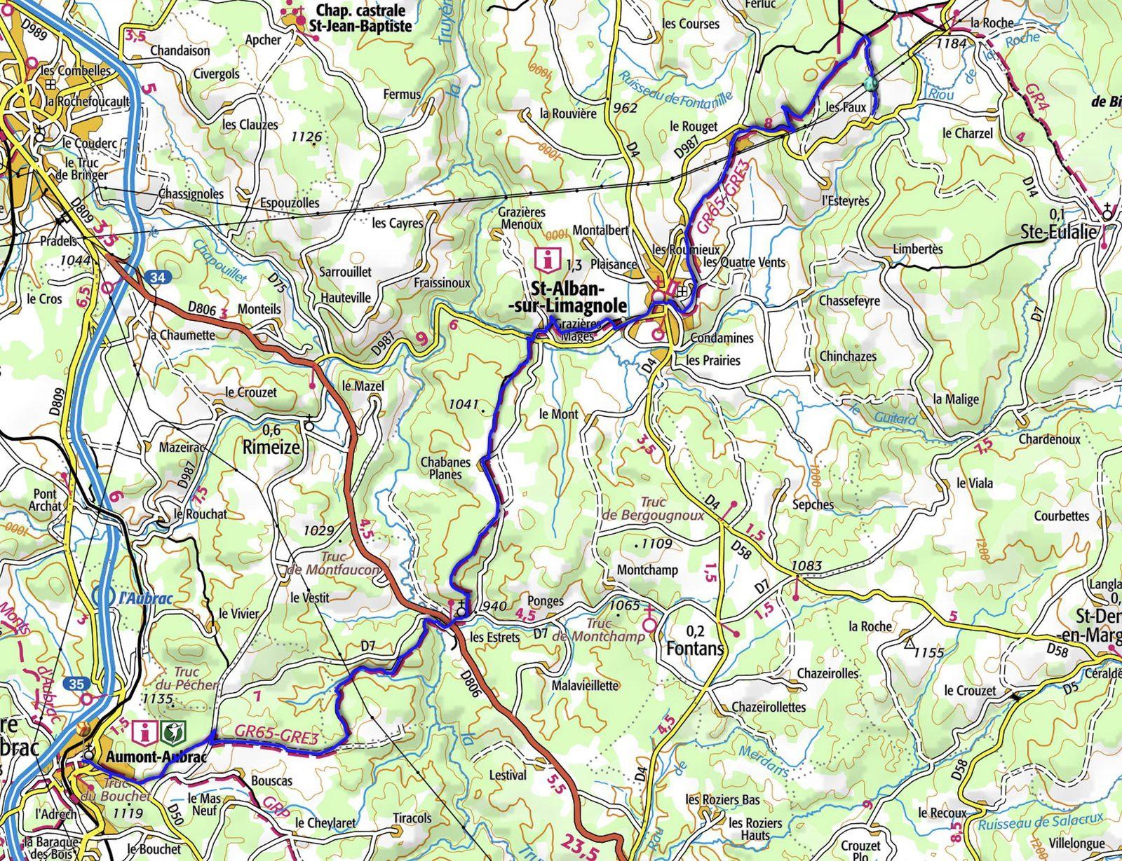 Chemin de Saint Jacques Les Faux->Aumont-Aubrac, 21 km.