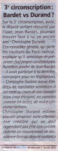 La Gazette : 3e circonscription Bardet vs Durand.