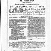 5 Avril 1933 : Le décret de Roosevelt confisquant l'or des Américains par Histoire de l'Or