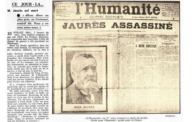 Ce jour-là, le 31 juillet 1914, Jean Jaurès est assassiné.