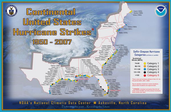 List of United States hurricanes 1950 - 2007