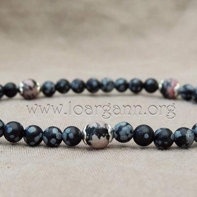 Bracelets Rhodonite et Obsidienne neige