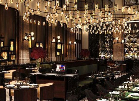 Glamorous and exciting restaurant & bar decor. See more luxurious interior design like this at monsyeur.com