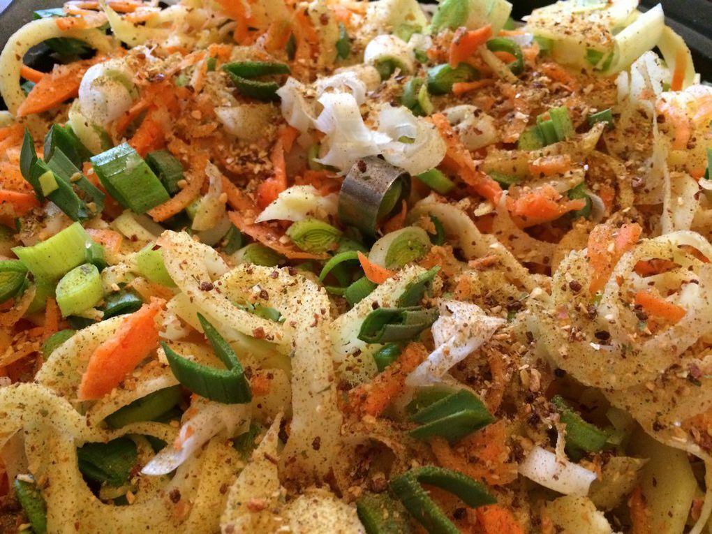 Aiguillettes de poulet à la sauce moutarde douce et légumes coupés au spiraliseur