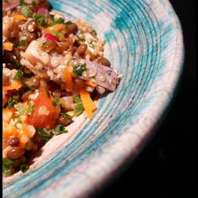 Le retour du soleil et des salades : quinoa, lentilles, hareng et légumes croquants…