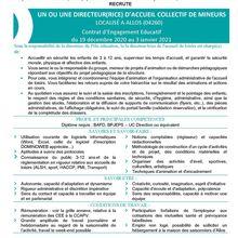 Offre emploi : Un agent d'animation et directeur de site pour l'école de Colmars et l'accueil collectif de mineurs d'Allos : CDD du 14.12.20 au 31.08.2021