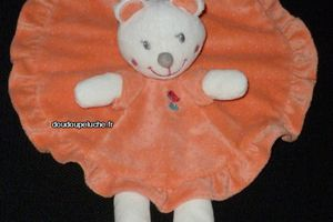 Doudou peluche ours plat rond Nicotoy orange rose